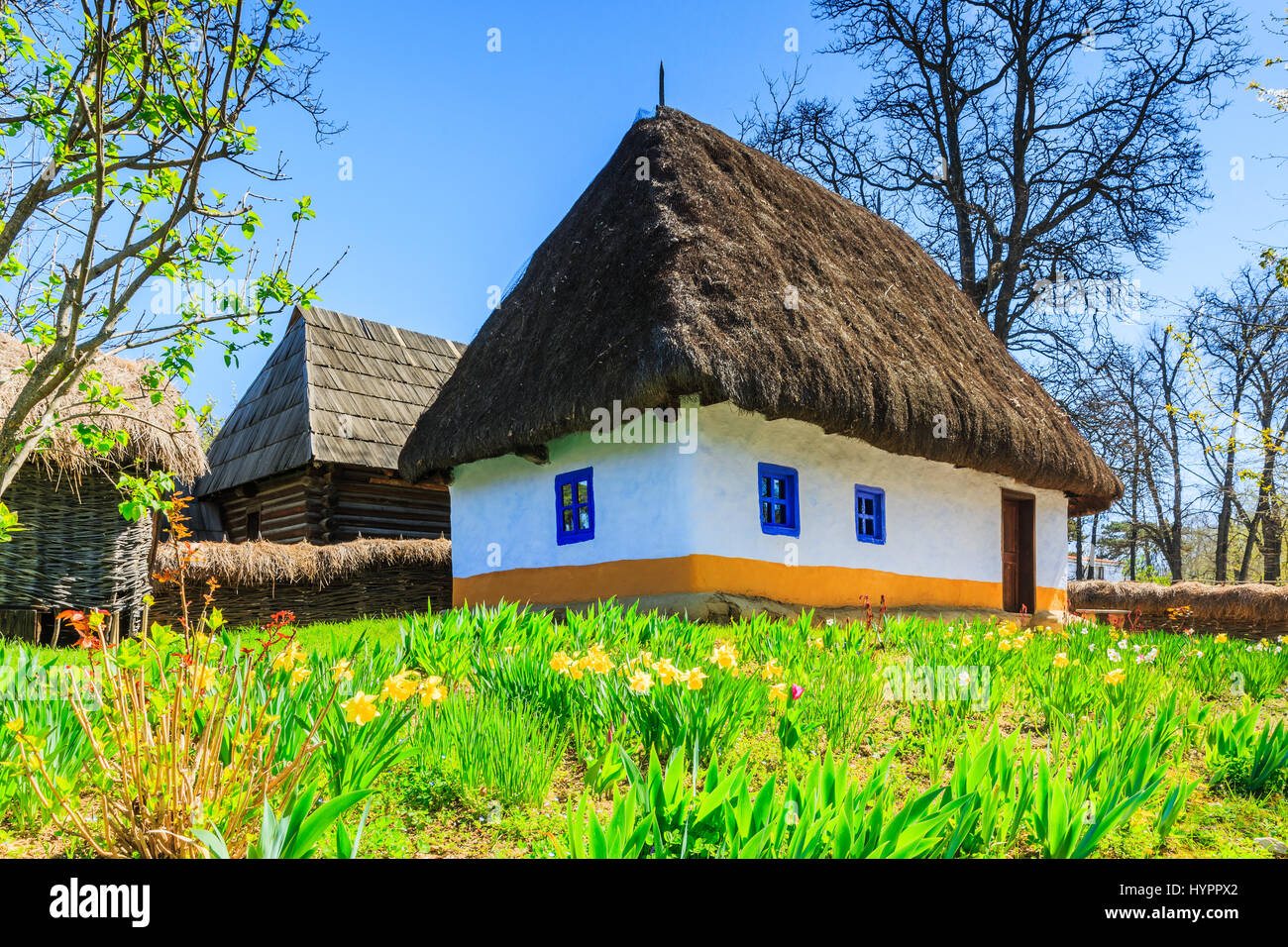 Bucharest, Romania. Old traditional house in the village museum. - Stock Image
