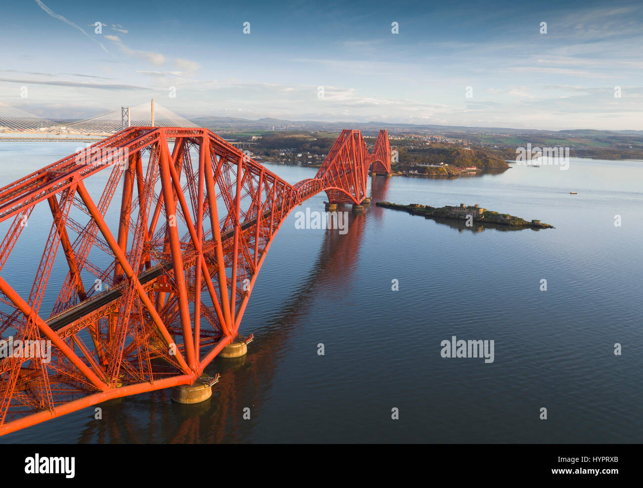 The Forth rail bridge over the Firth of Forth as seen from South Queensferry, Lothian, Scotland. - Stock Image