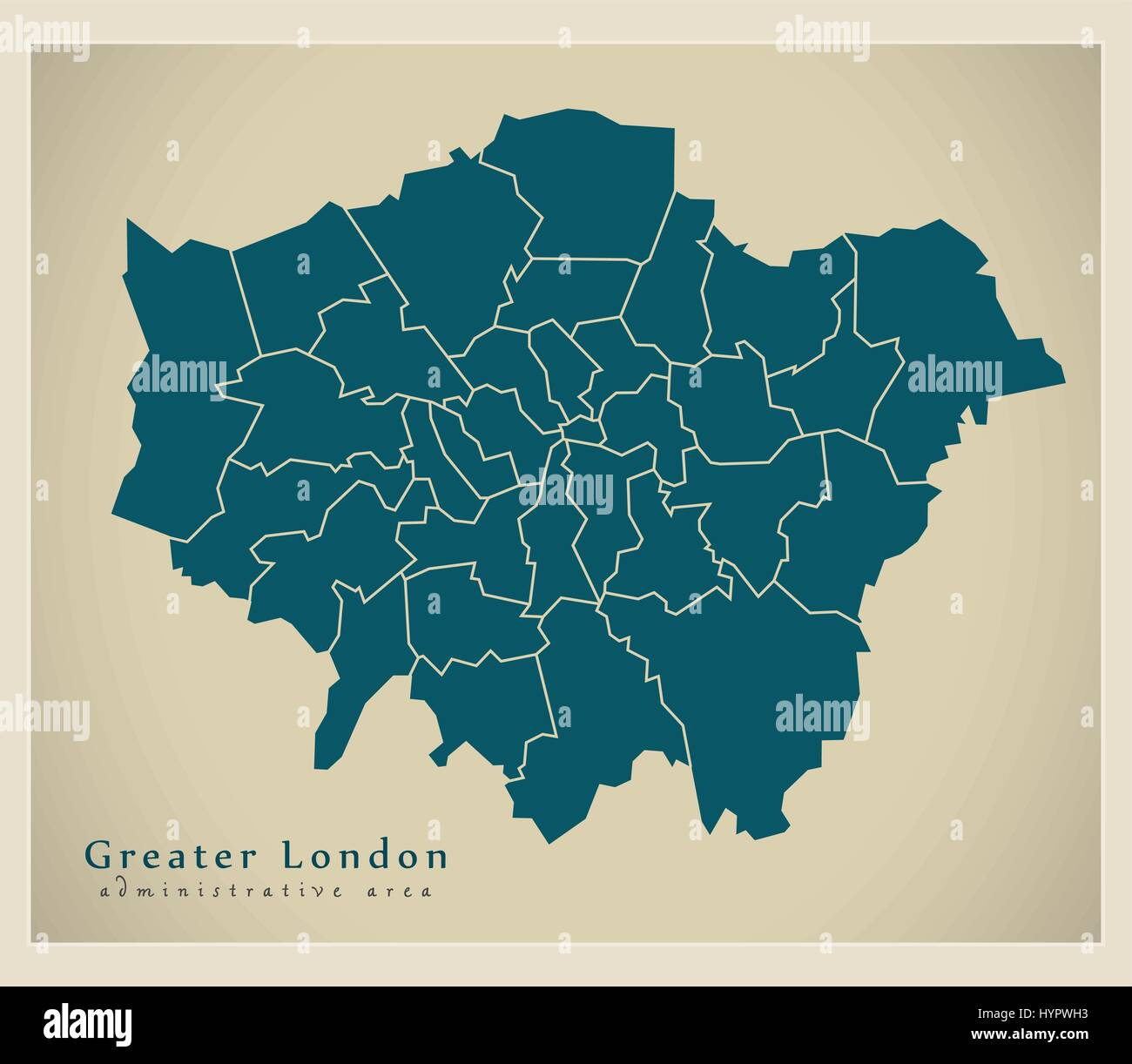 London Map Districts.Modern Map Greater London Administrative Area With Districts Uk