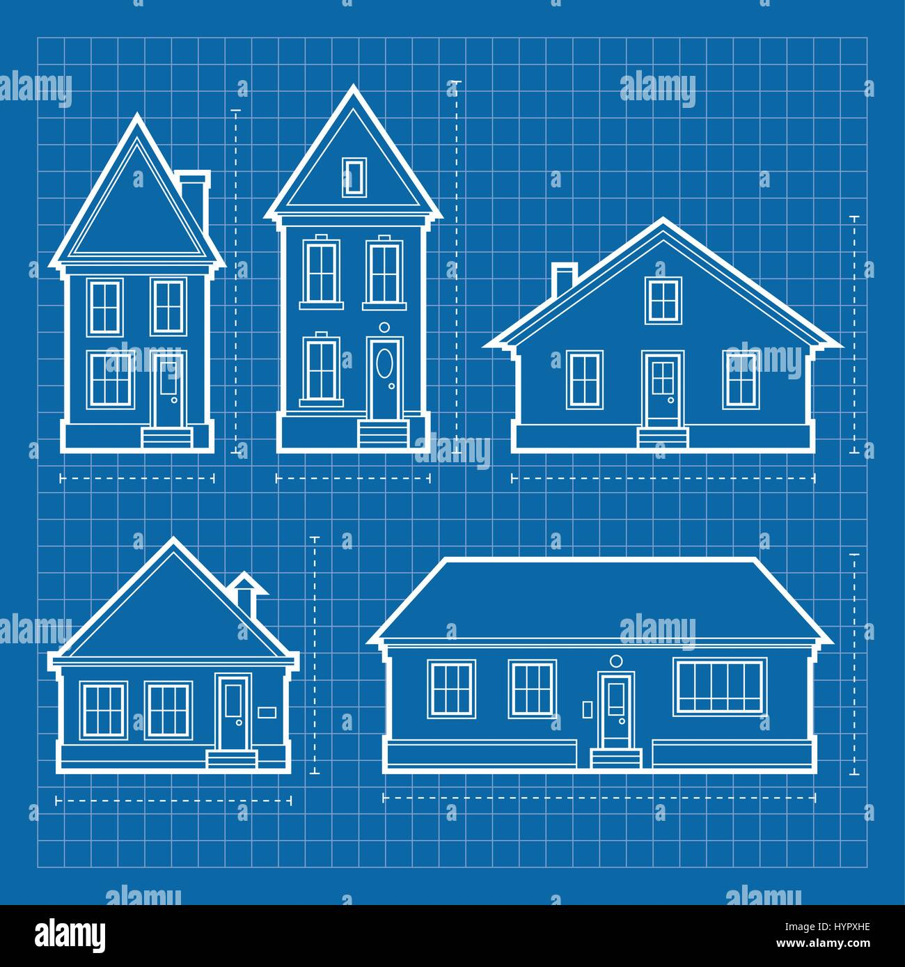 Blueprint diagrams of a variety of residential house types stock blueprint diagrams of a variety of residential house types malvernweather Gallery
