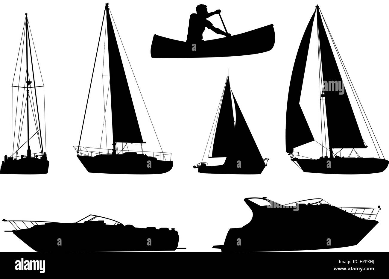 A set of silhouettes of a variety of boats. Stock Vector