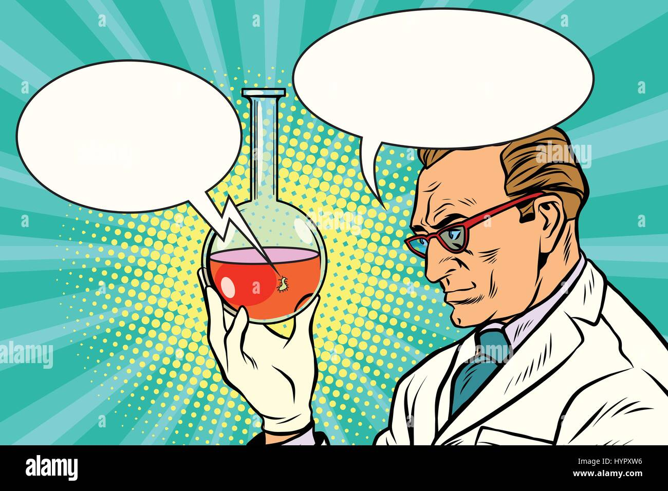 Scientist chemist talks about the analysis - Stock Vector