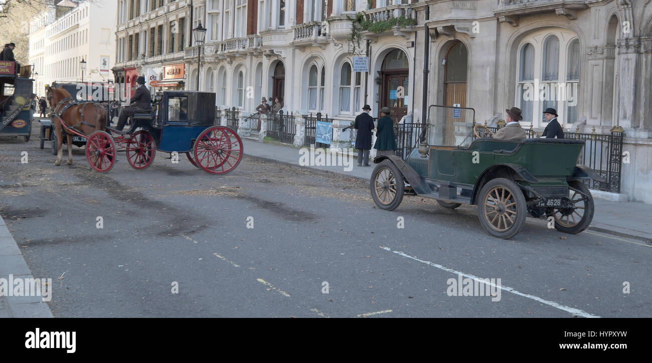 on the set of filming an episode of the TV series Howards End london - Stock Image
