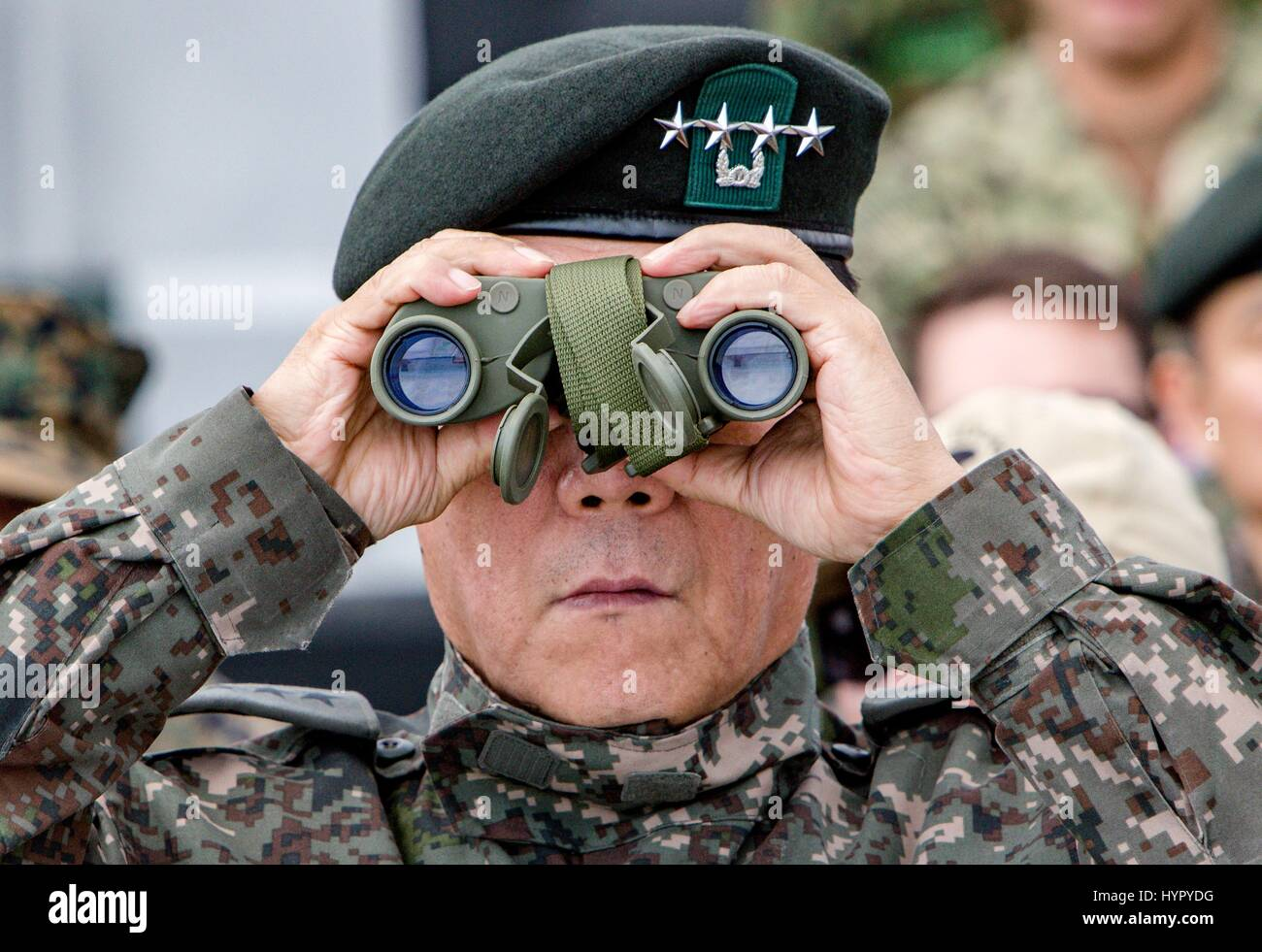 South Korean Gen. Leem Ho Young, Combined Forces deputy commander, watches an amphibious assault demonstration with - Stock Image