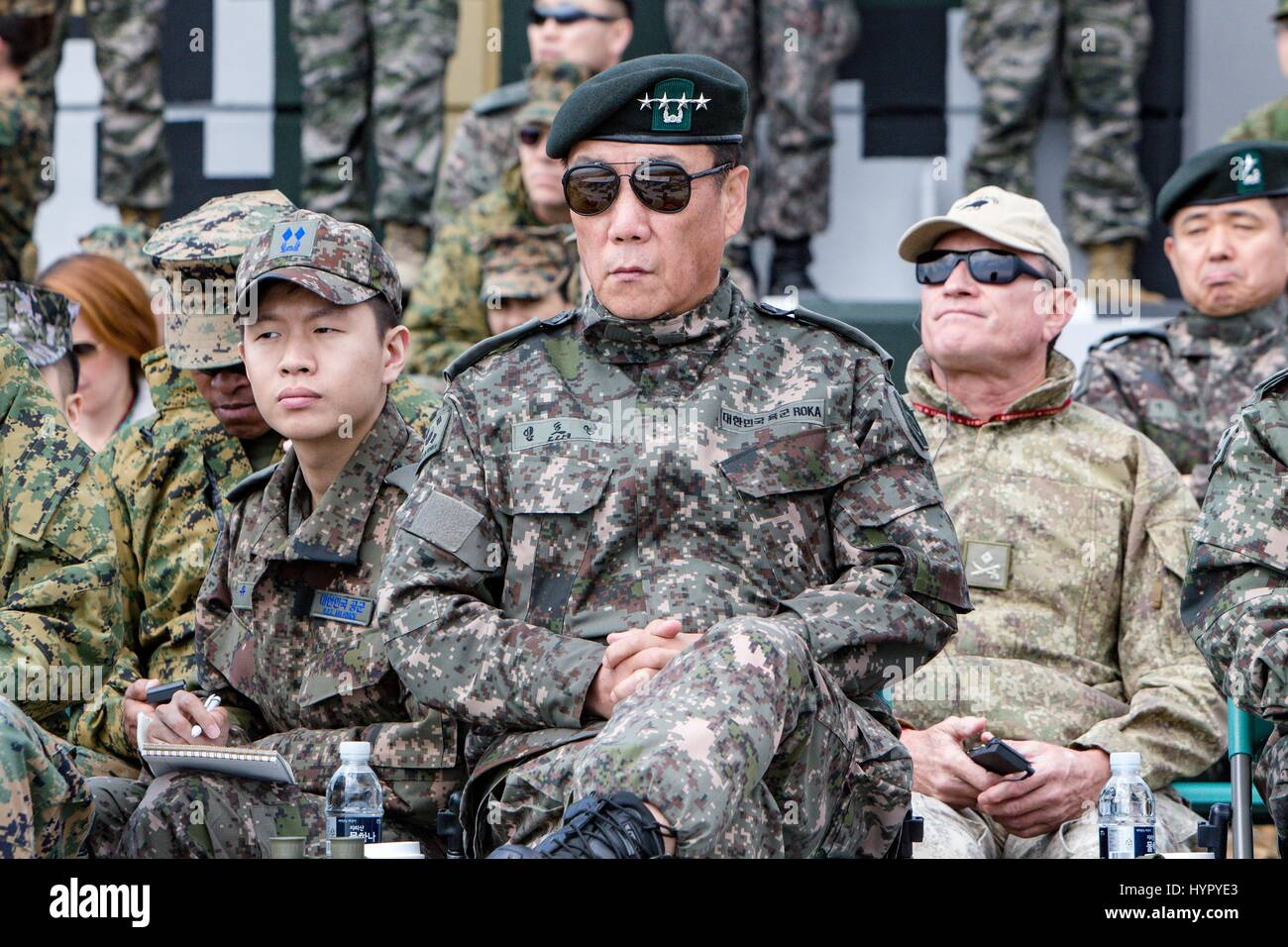 South Korean Gen. Leem Ho Young, Combined Forces deputy commander, watches an amphibious assault demonstration during - Stock Image