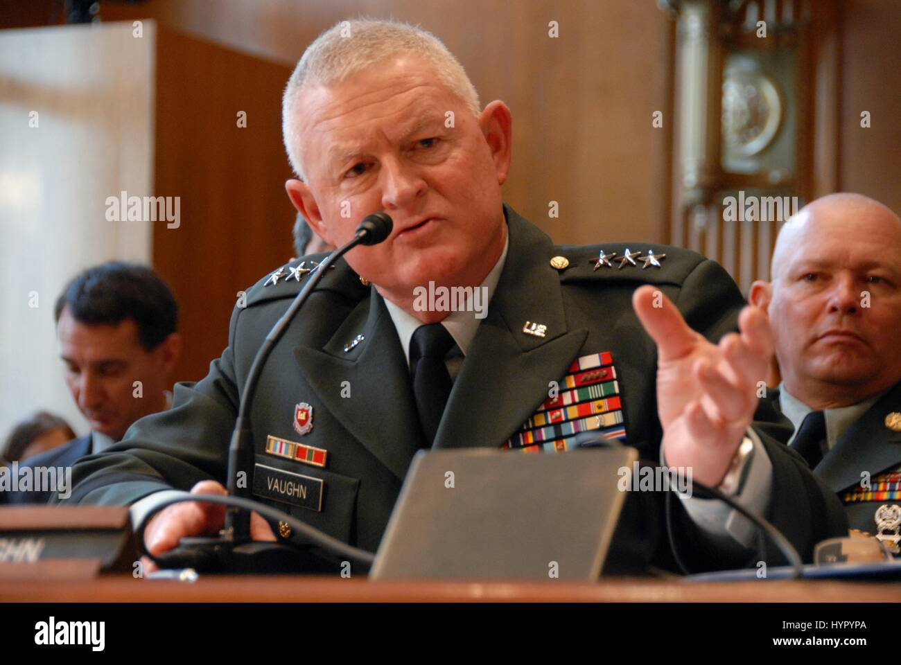 U.S. Army National Guard Director Clyde Vaughn testifies before the Senate Appropriations Subcommittee on Defense - Stock Image