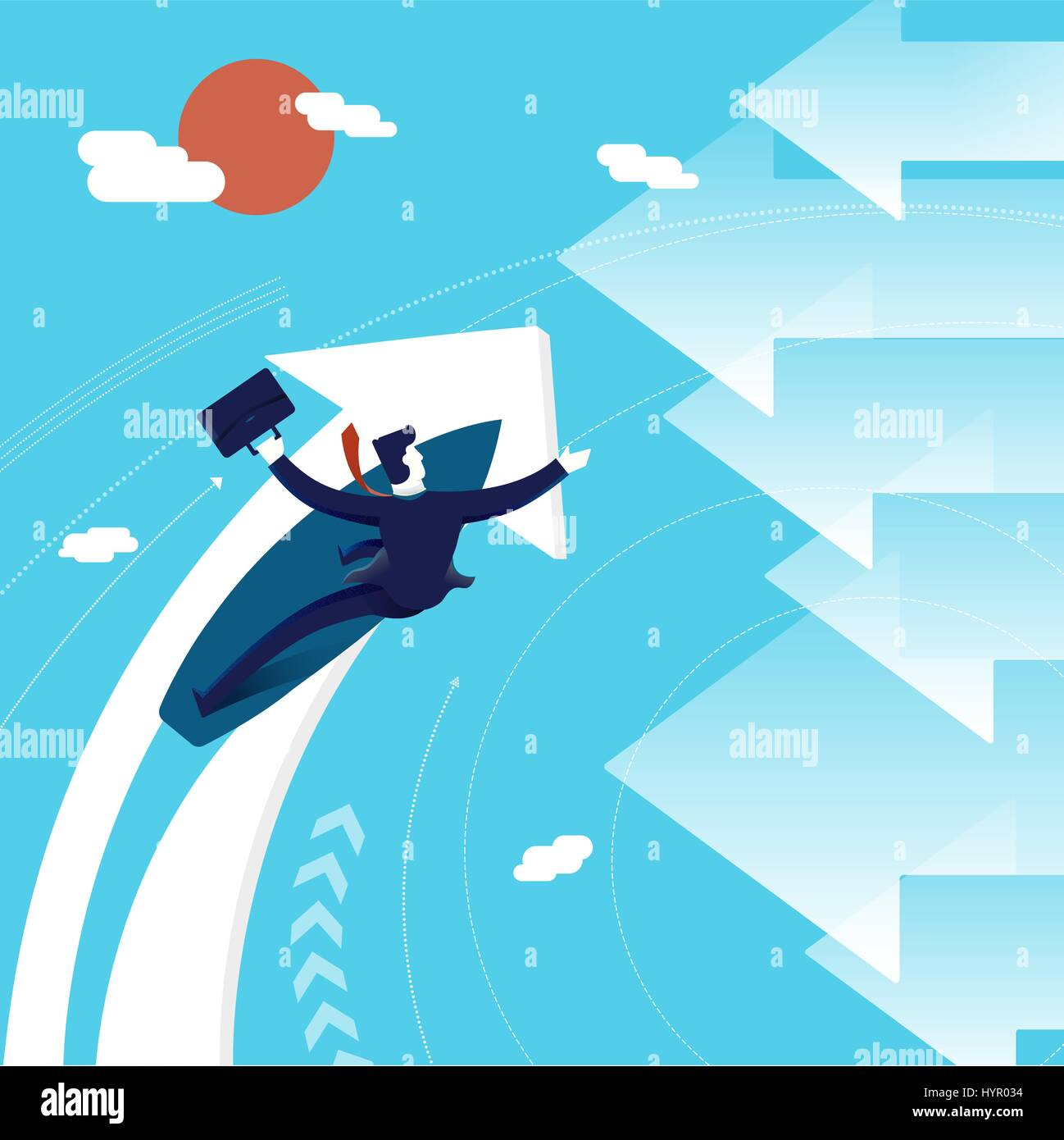 Business concept illustration: entrepreneur or executive man surfing in a new direction. Modern flat art design - Stock Vector