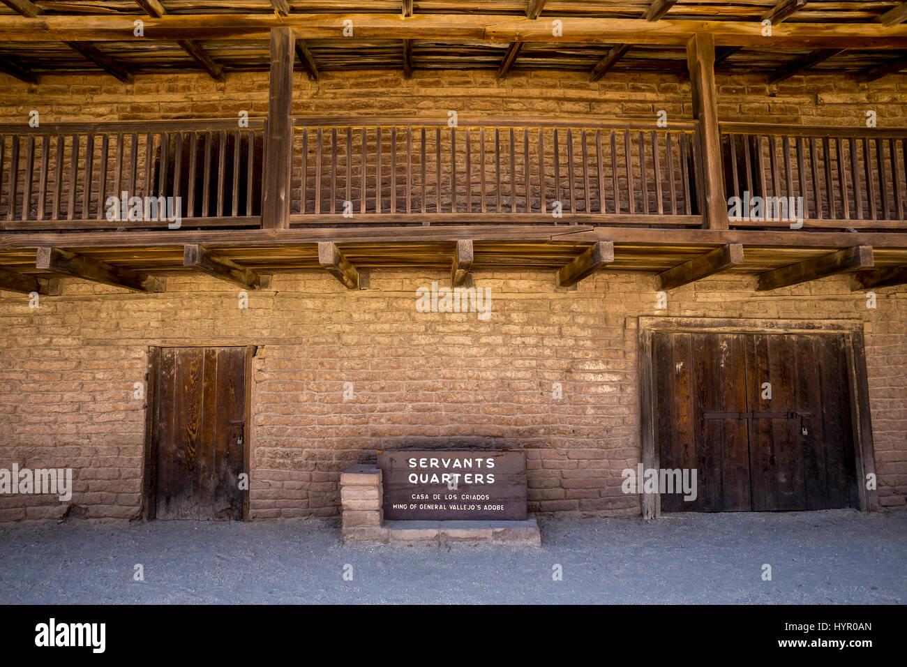 Servants Quarters, Casa de los Criados, Wing of General Vallejo's Adobe, city of Sonoma, Sonoma, Sonoma County, - Stock Image
