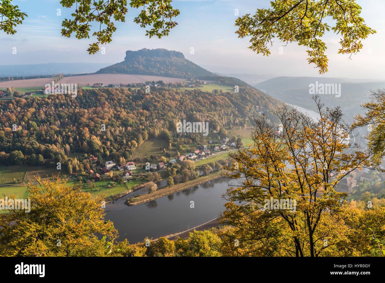 View from Castle Koenigstein in Autumn, Saxon Switzerland   Aussicht von der Festung Königstein im Herbst, - Stock Image