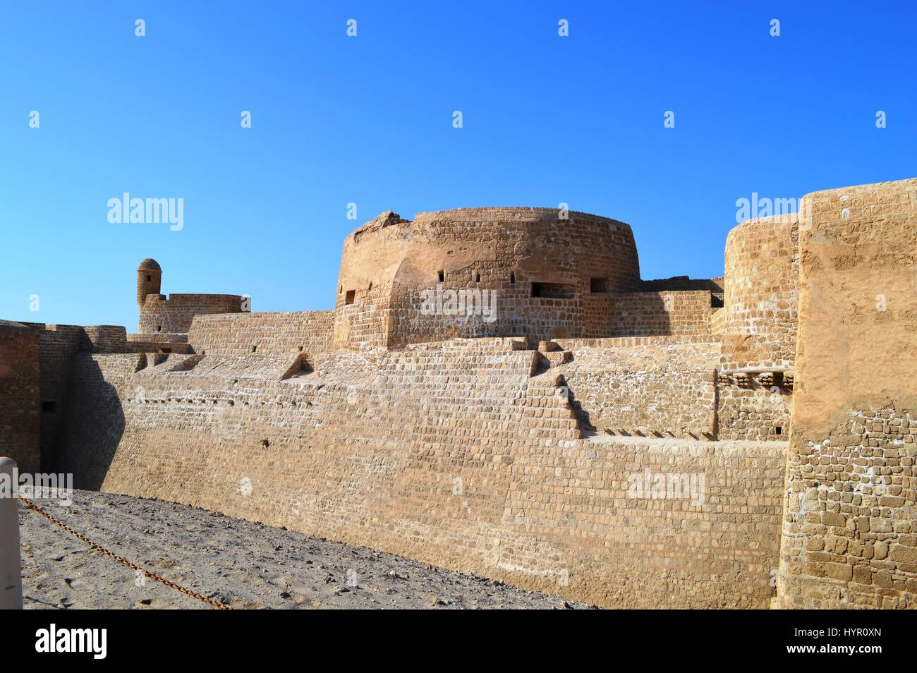 An exterior view of the Bahrain Fort at Al Qalah, Bahrain, in the Middle East. - Stock Image