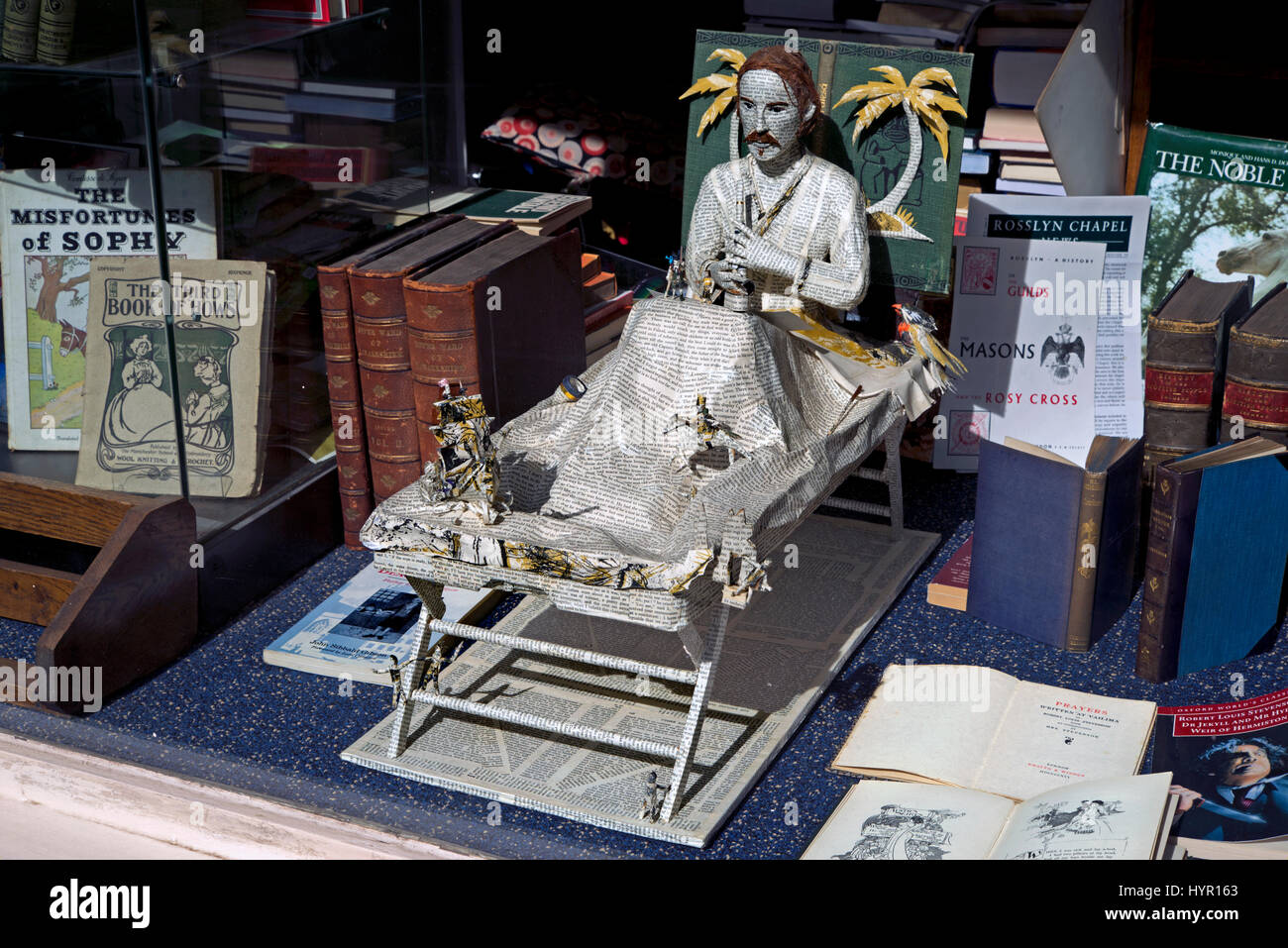 A model of Robert Louis Stevenson made from the pages of a book in the window of a secondhand bookshop in Edinburgh, - Stock Image