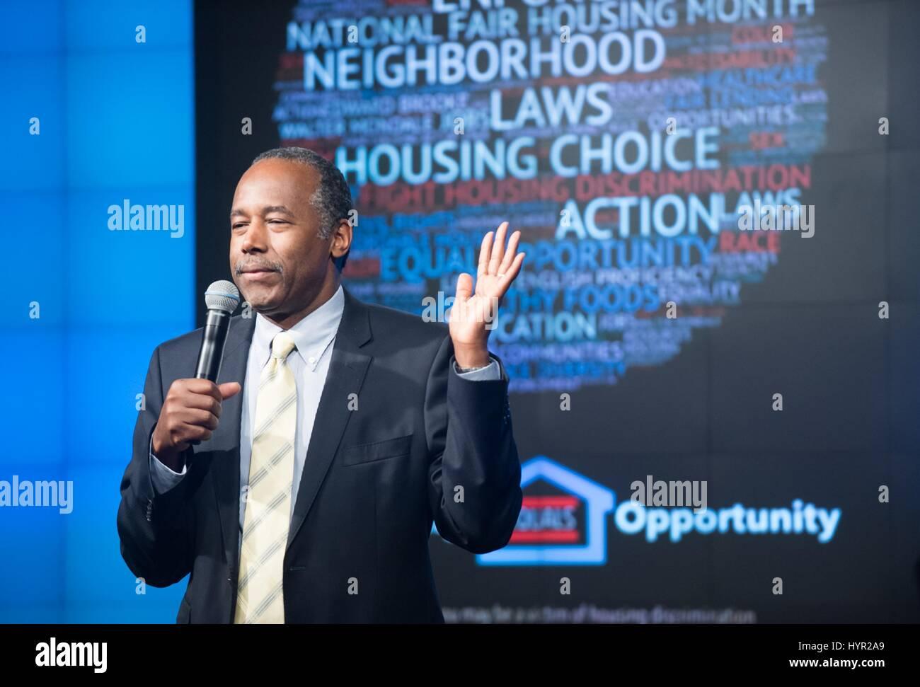 U.S. Secretary of Housing and Urban Development Ben Carson speaks at the kick-off of Fair Housing Month April 4, Stock Photo