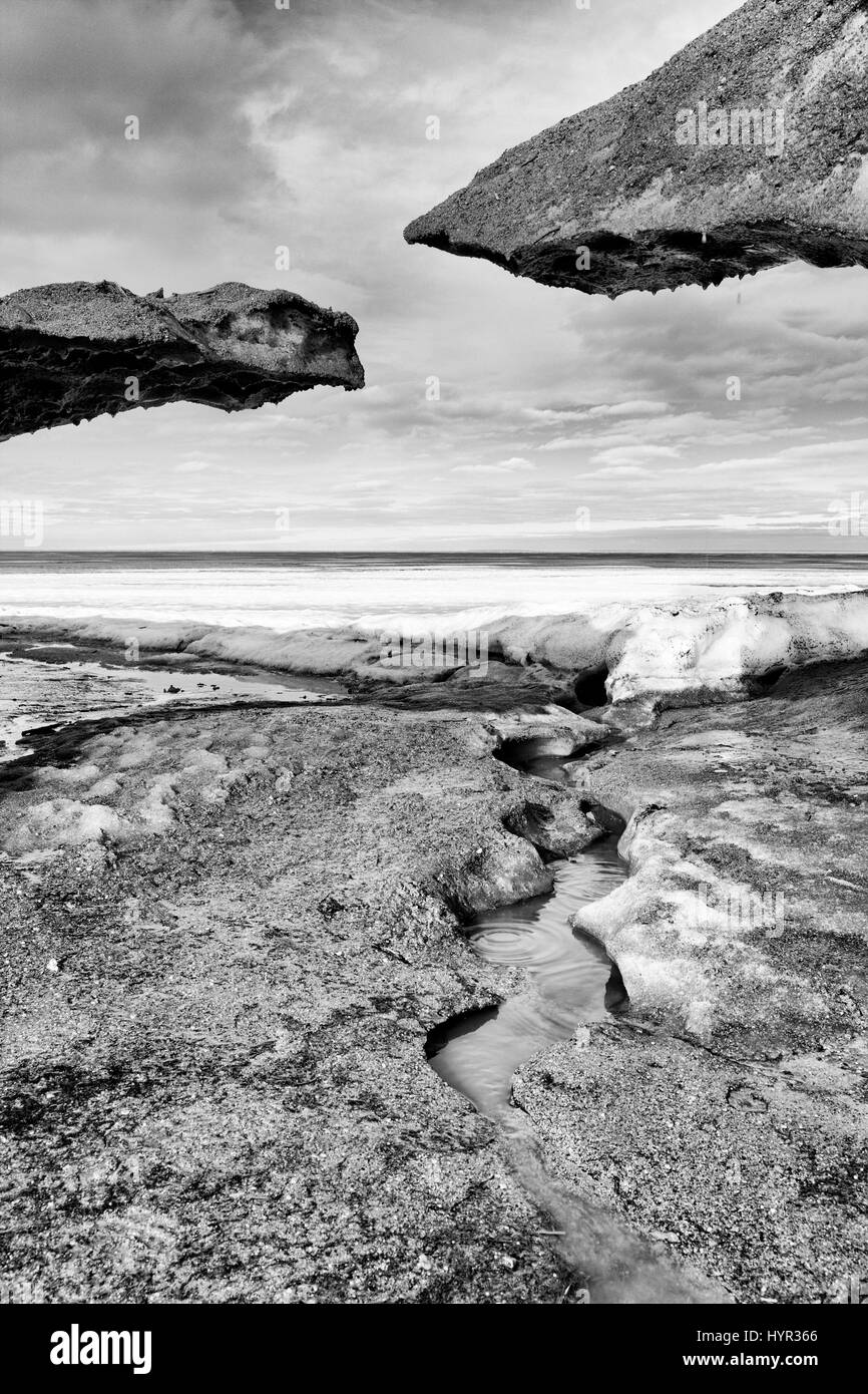 Ice forms black and white, Lake Winnipeg, Canada - Stock Image