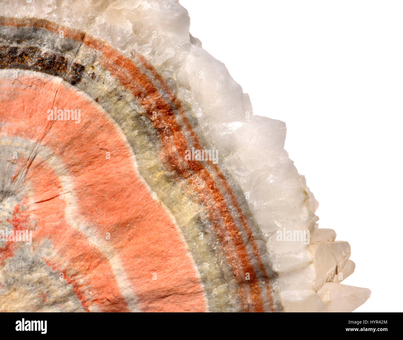 Banded Barian Celestine (strontium sulphate), sphalerite and calcite crystals Stock Photo