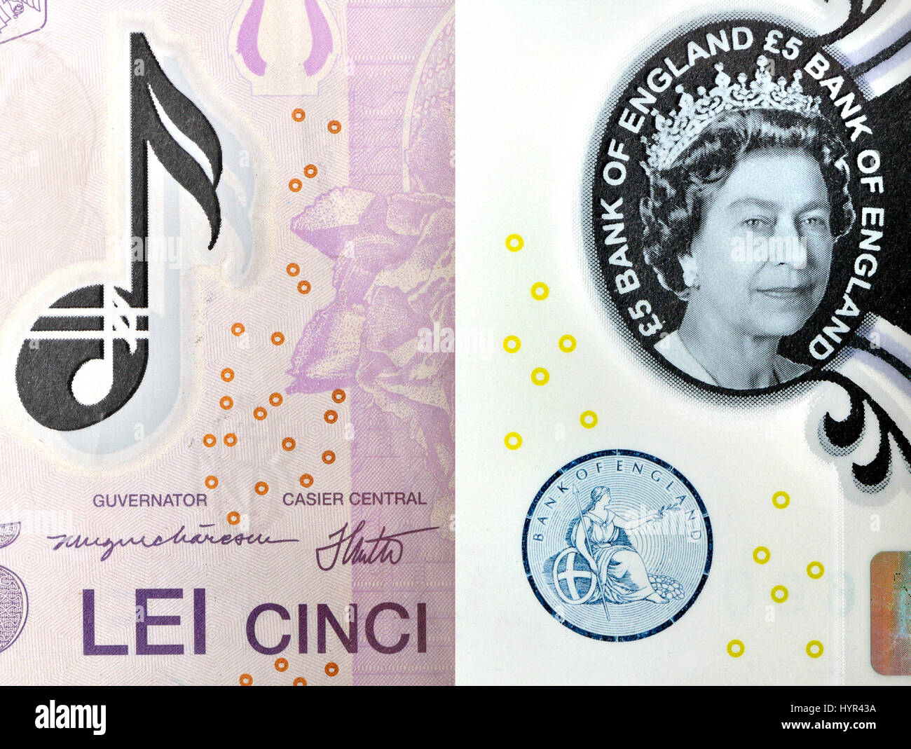 Romanian polymer 5 Lei and £5 British banknotes - anti-forgery security feature: transparent 'watermark' - Stock Image
