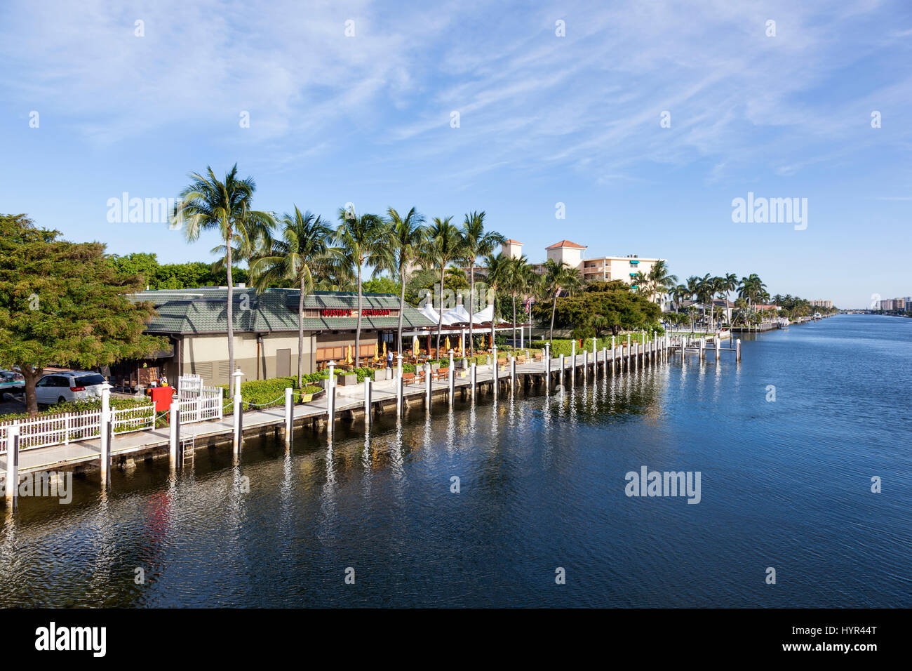 Pompano Beach, Fl, USA - March 15, 2017: Waterfront restaurant and buildings in Pompano Beach, Florida, United States - Stock Image