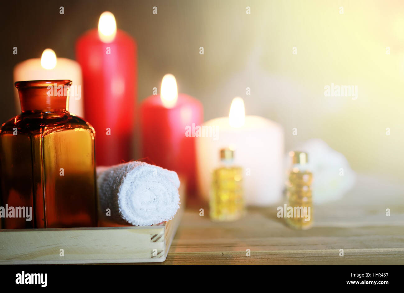 Spa accessories candle and bottle - Stock Image