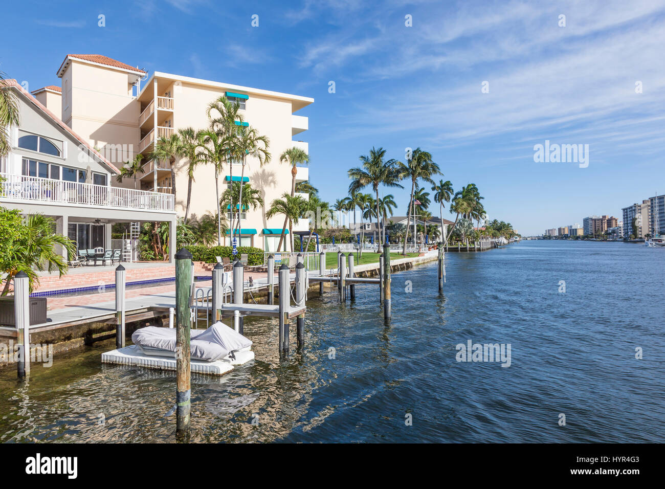 Waterfront buildings in Pompano Beach, Florida, United States - Stock Image