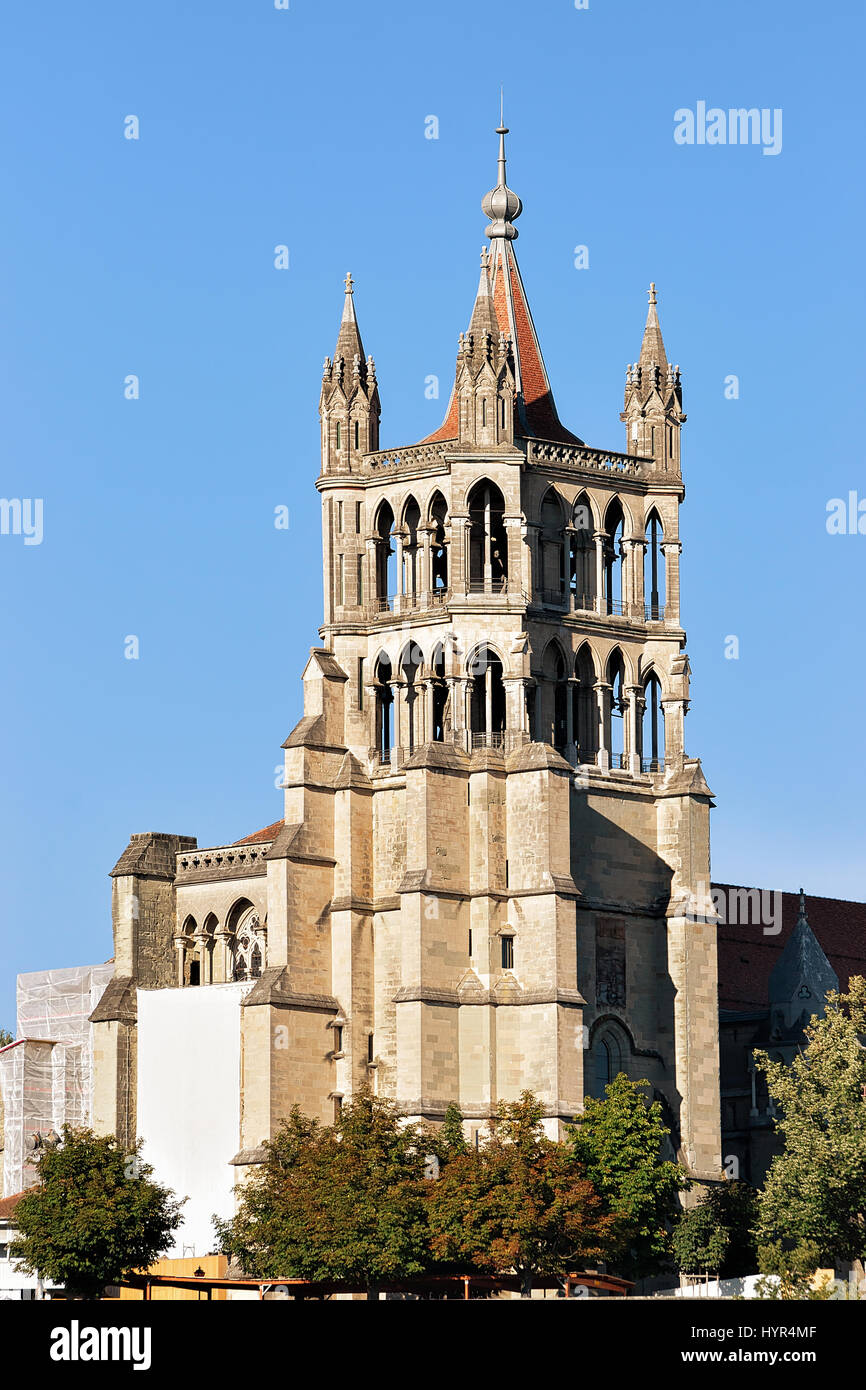 Tower of Cathedral of Notre Dame in Lausanne, Switzerland. - Stock Image
