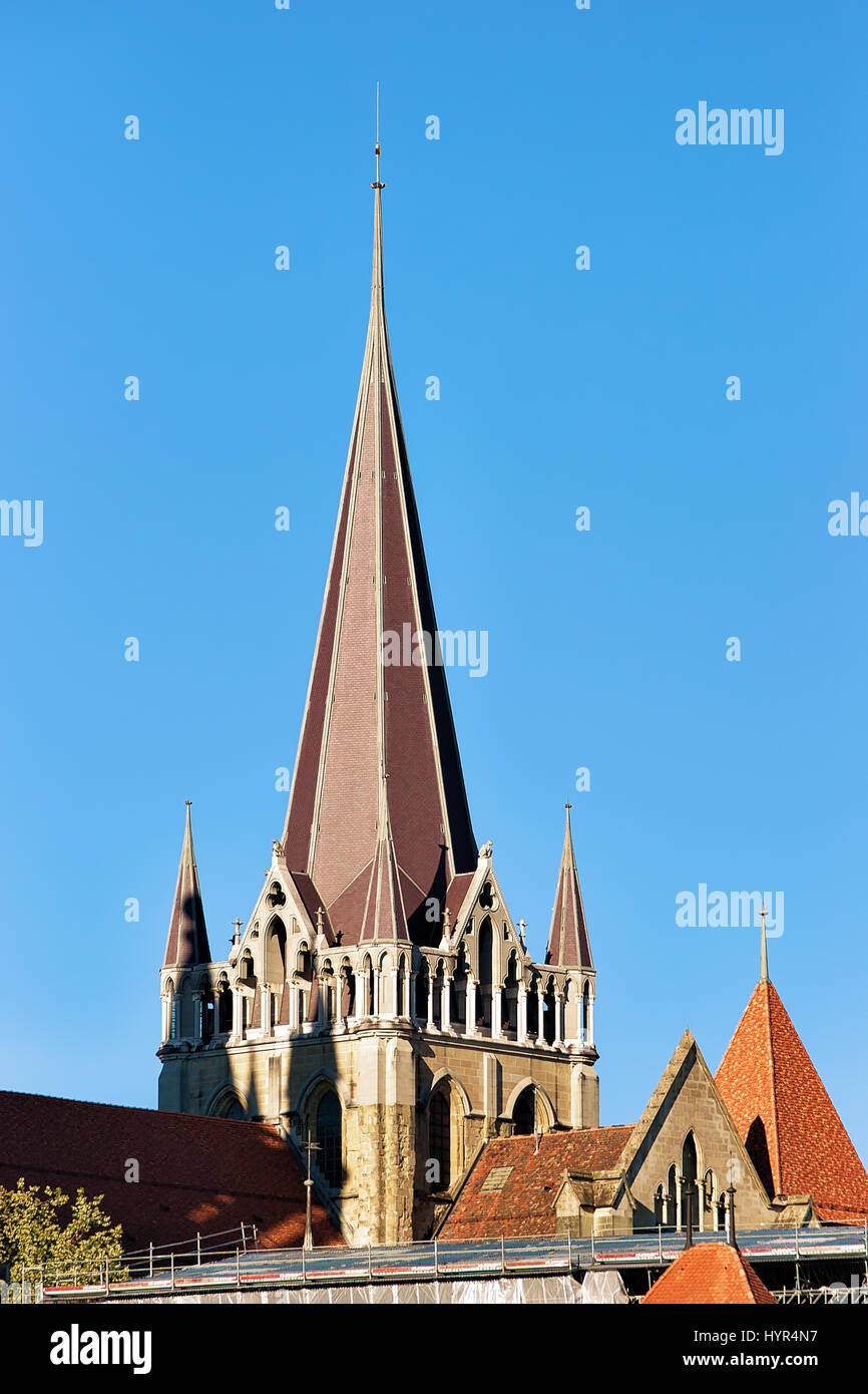 Spire of Cathedral of Notre Dame in Lausanne, Switzerland. - Stock Image