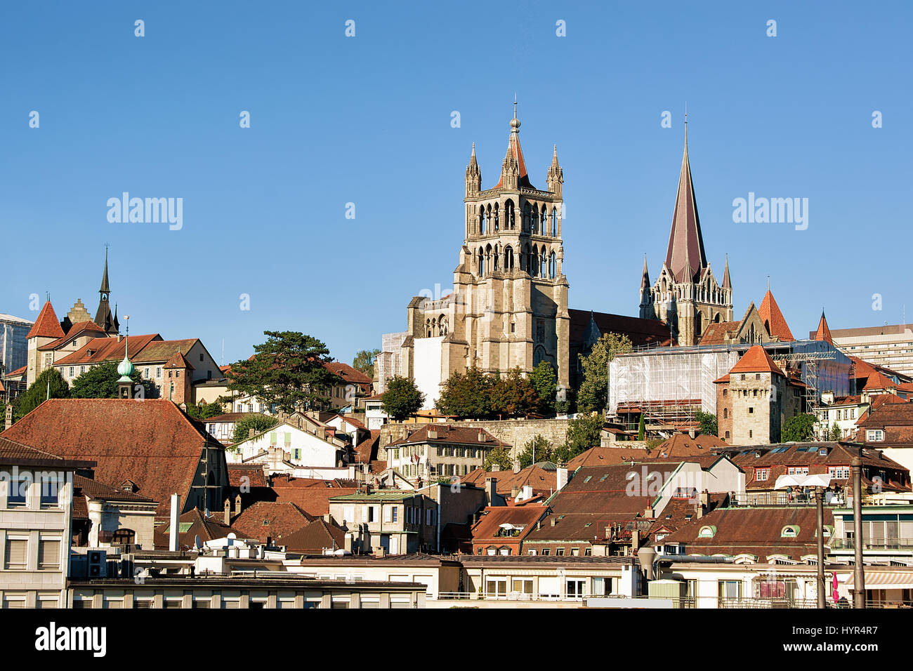 Cathedral of Notre Dame in Lausanne, Switzerland. Seen from Le Flon district - Stock Image