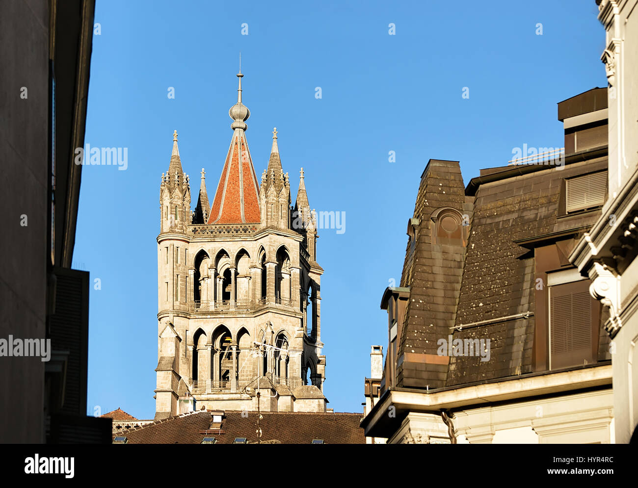 Tower of Cathedral of Notre Dame in Lausanne, in Switzerland. - Stock Image
