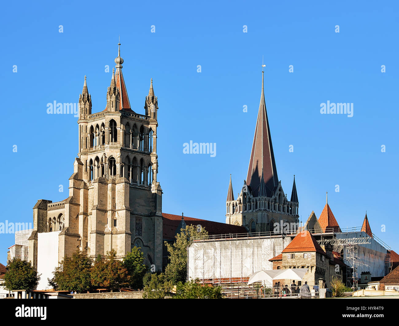 Cathedral of Notre Dame, Lausanne, Switzerland. Seen from Le Flon district - Stock Image