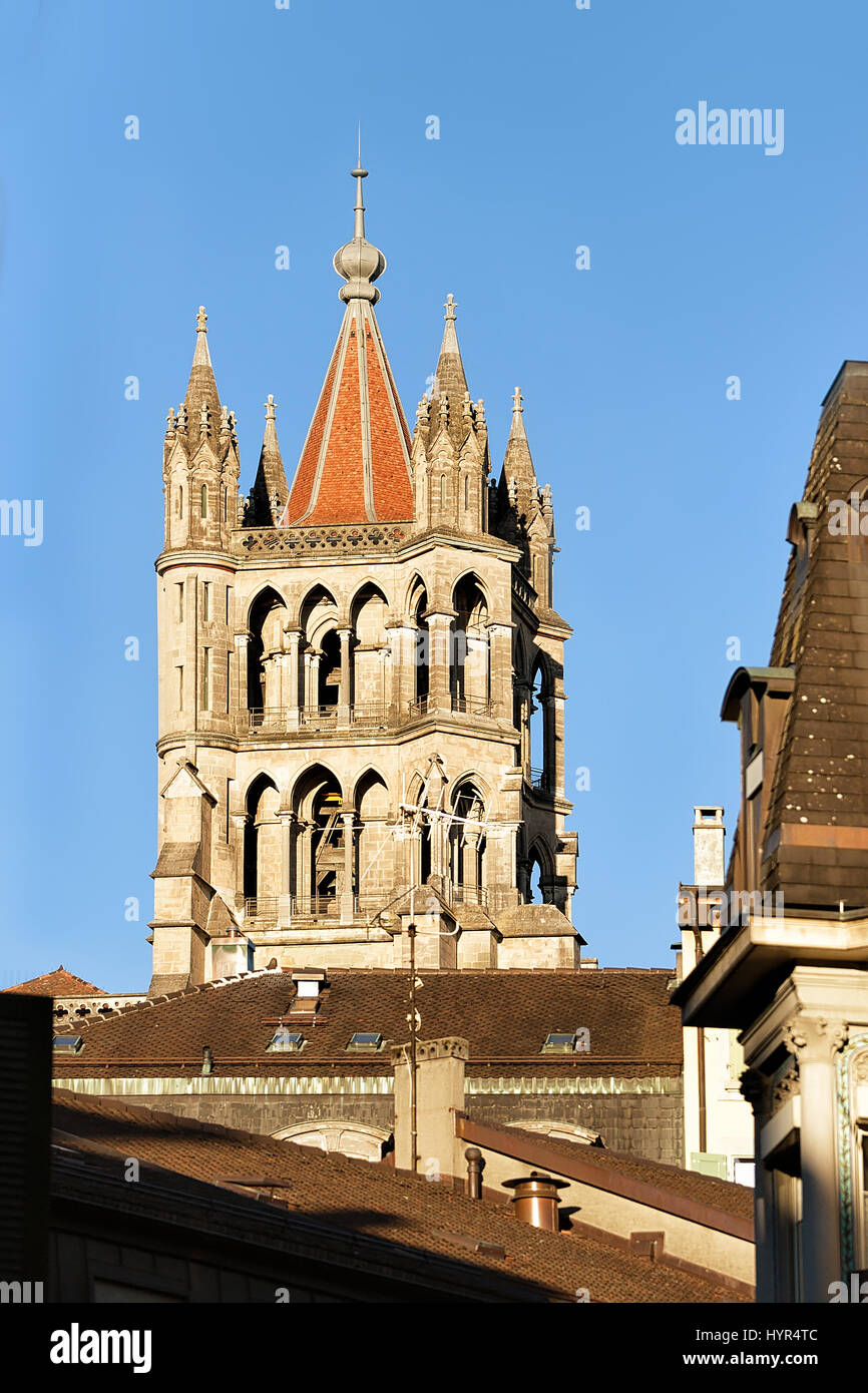Tower of Cathedral of Notre Dame, Lausanne, Switzerland. - Stock Image