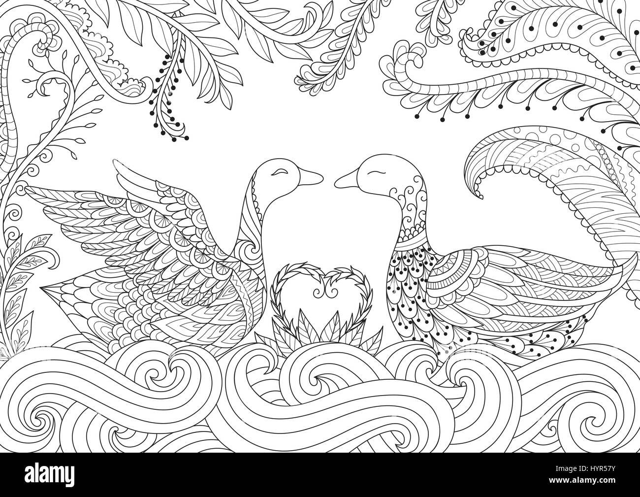 Dragon Flying Above Russian Cathedral Design For Adult Coloring Book Page Vector Illustration
