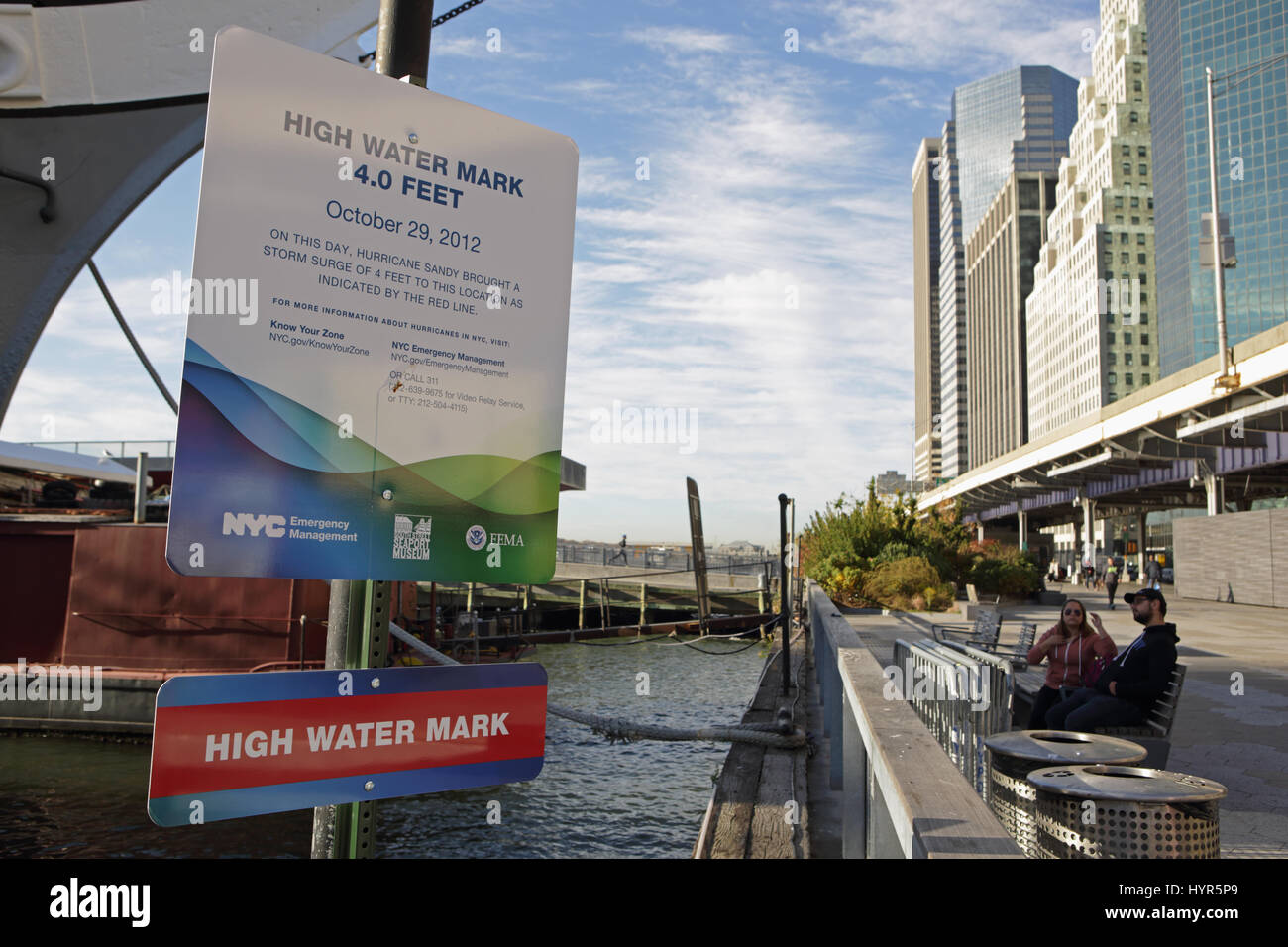 New York, NY, USA - November 8, 2016: High Water Mark sign on the East River in Lower Manhattan which records the Stock Photo