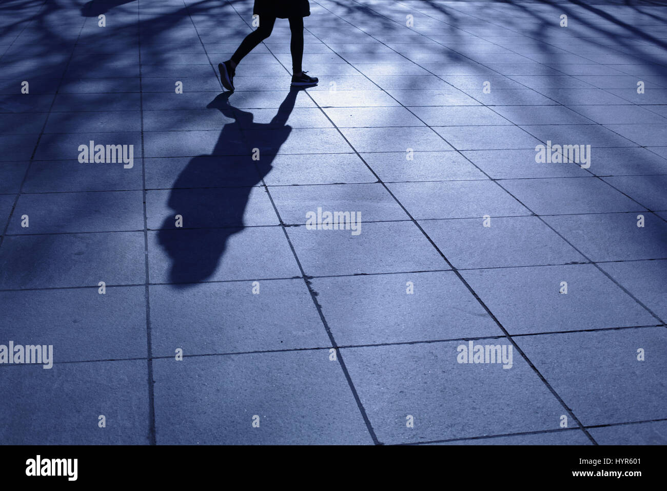 Young woman walking alone in a New York City park in blue night shadows - Stock Image