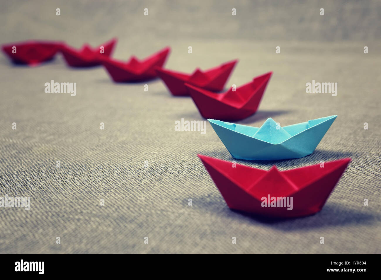 colored paper boats - Stock Image