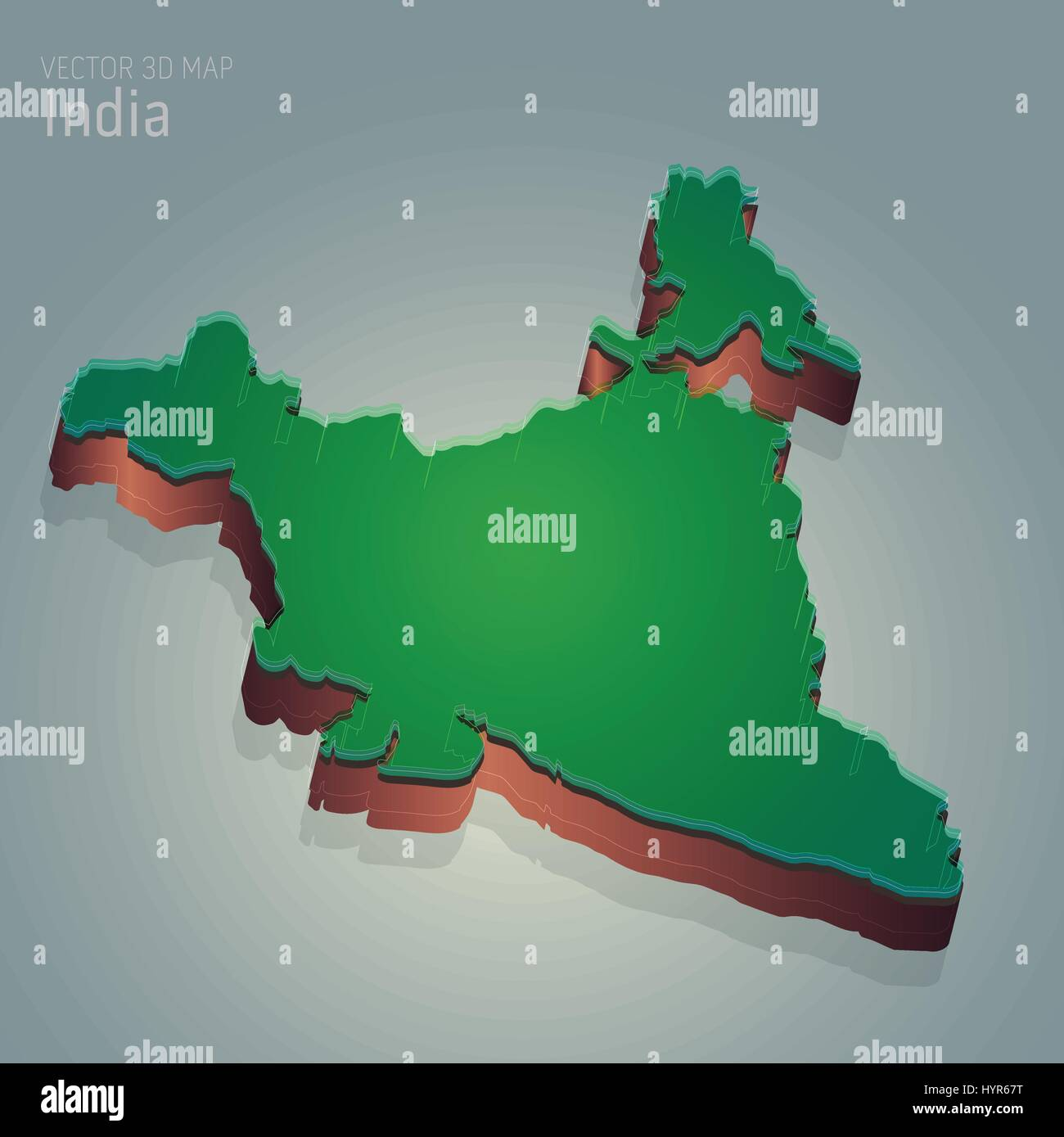 India 3D Map vector 3d map illustration of INDIA Stock Vector Art