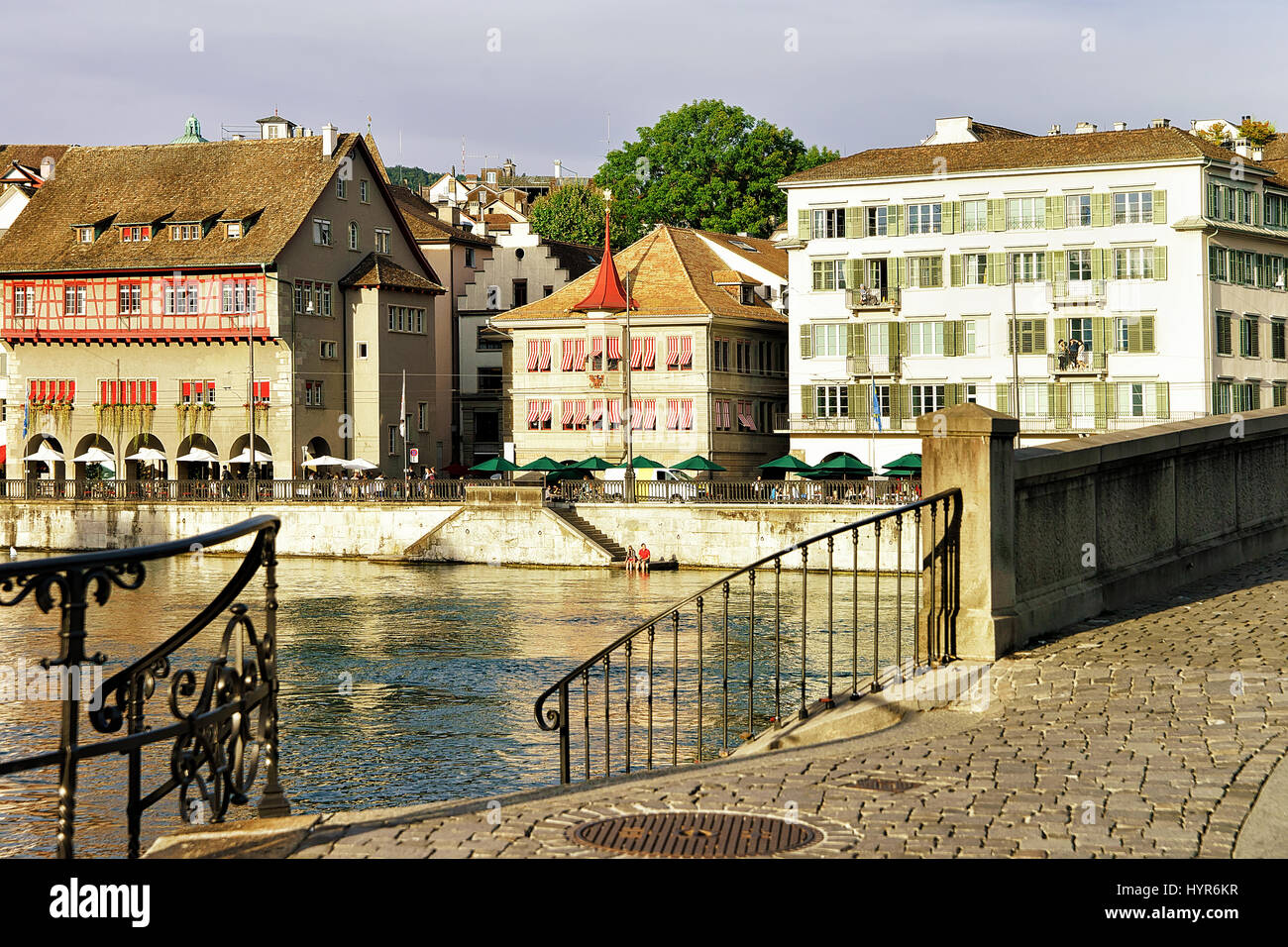 Limmatquai at Zurich old town center - Stock Image