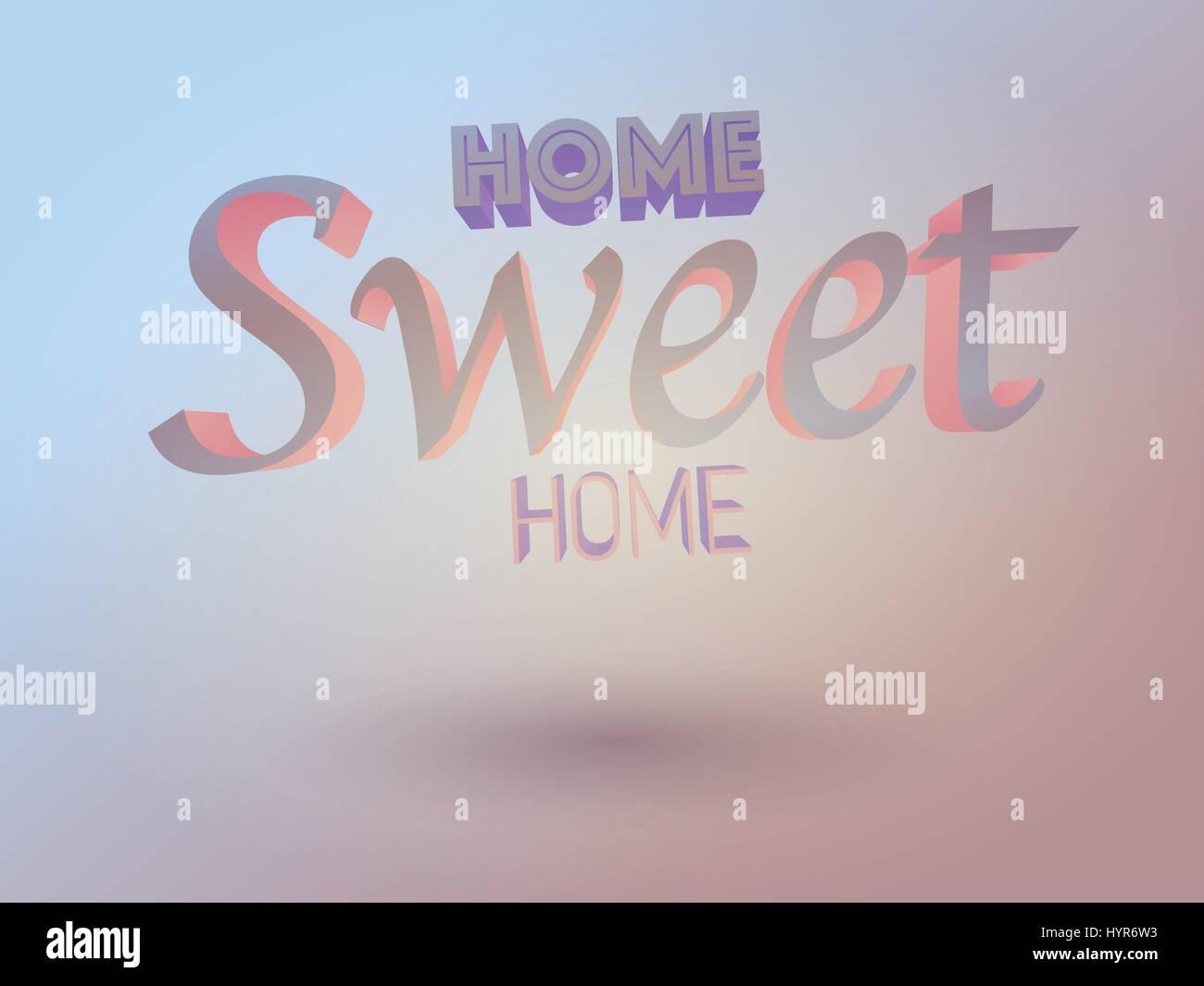 vector 3d home sweet home typography design - Stock Vector