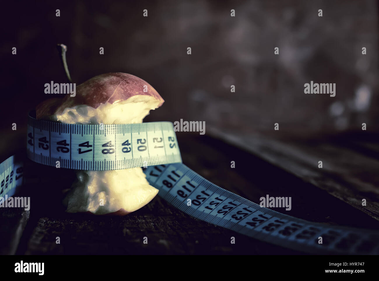 anorexia thinness measuring apple Stock Photo