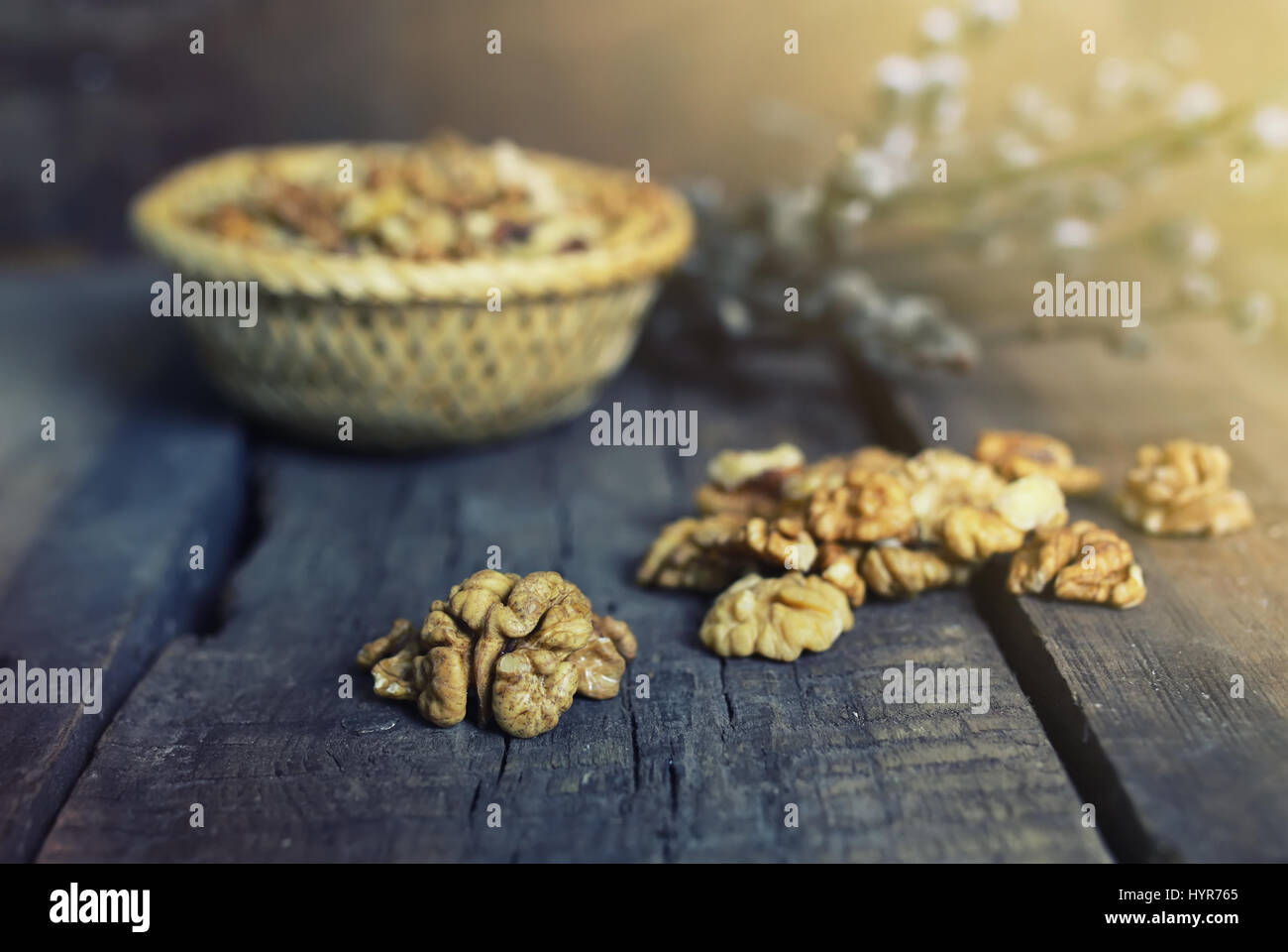 walnut on wooden background Stock Photo