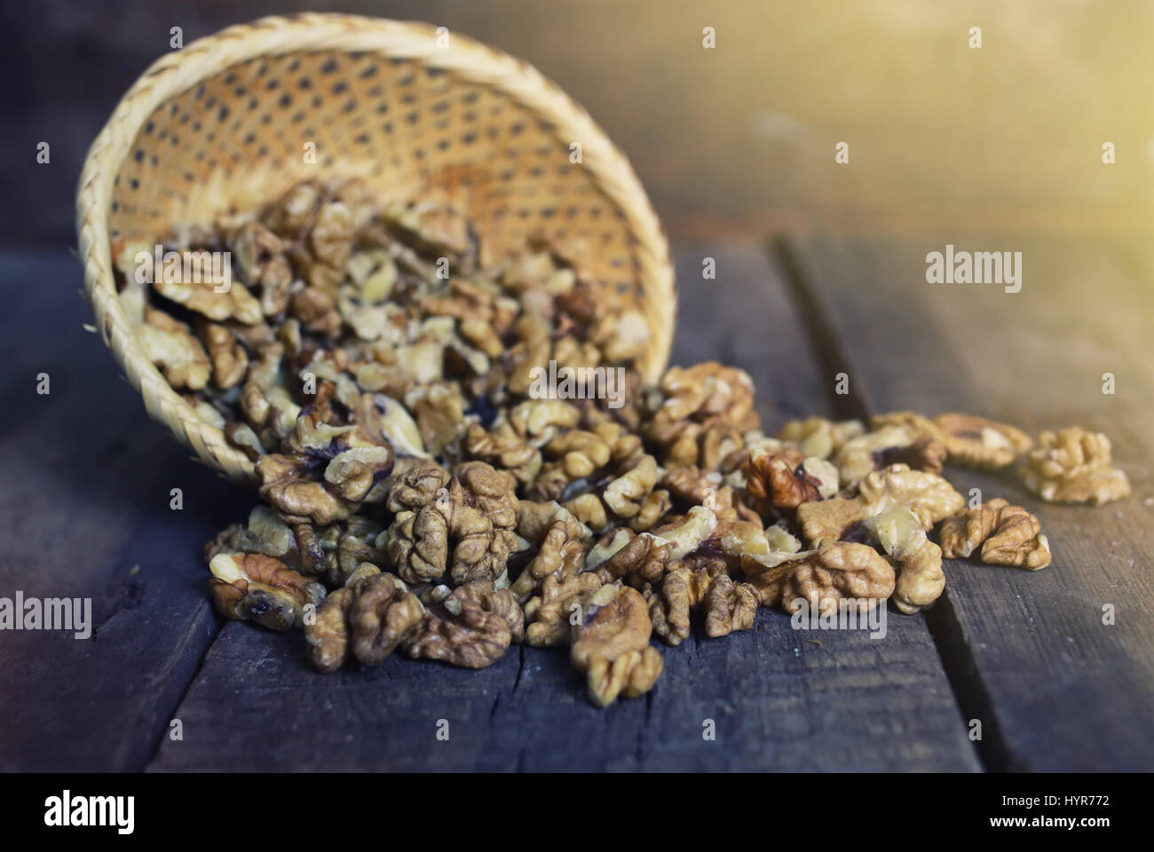 walnut on wooden background - Stock Image