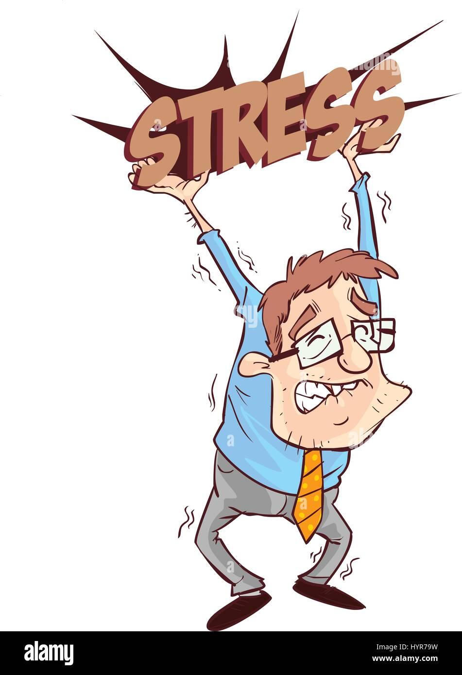 vector illustration of a business man oppressed under depression - Stock Vector