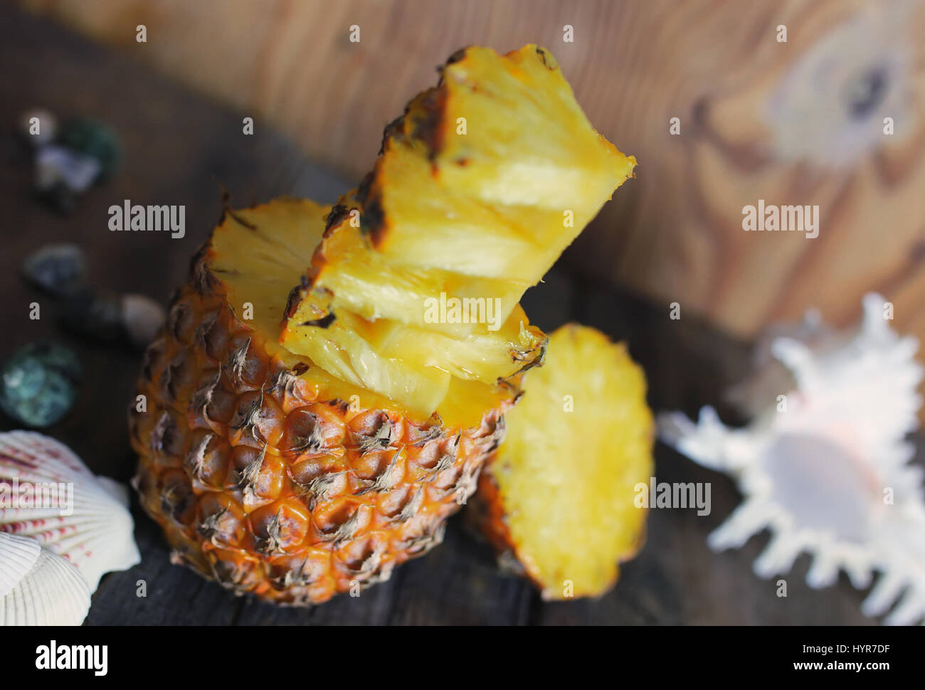 slices pineapple cut knife  - Stock Image