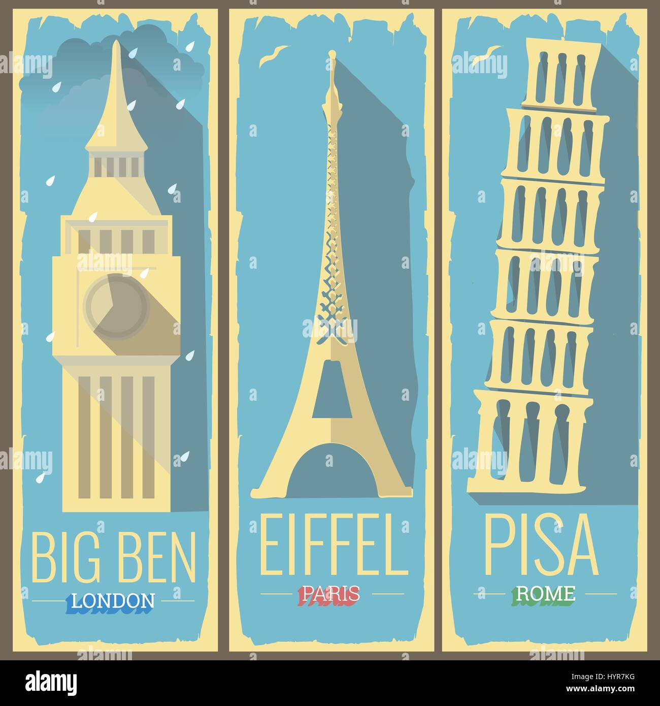 big ben tower london, eiffel tower paris and pisa tower rome icon style illustrations on retro vintage poster postcard - Stock Vector