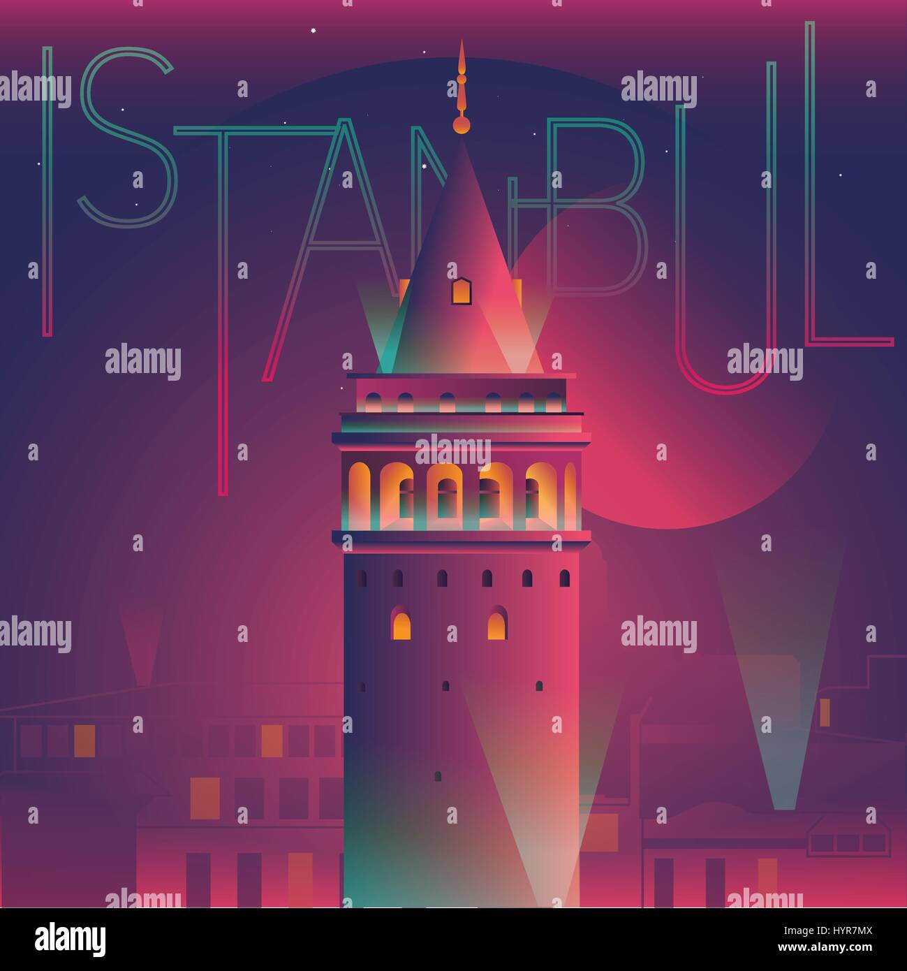 vector illustration of galata tower night view - Stock Vector