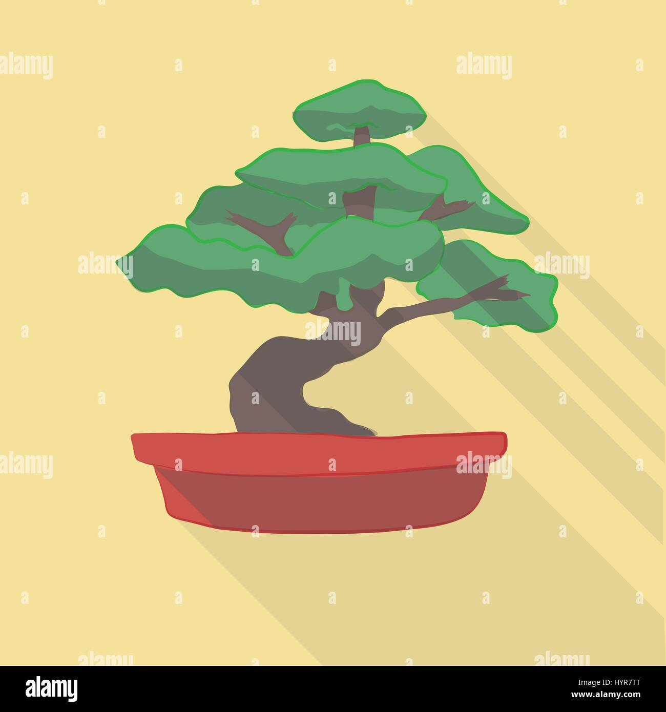 Vector Illustration Long Shadow Flat Icon Of Bonsai Tree Stock Vector Image Art Alamy