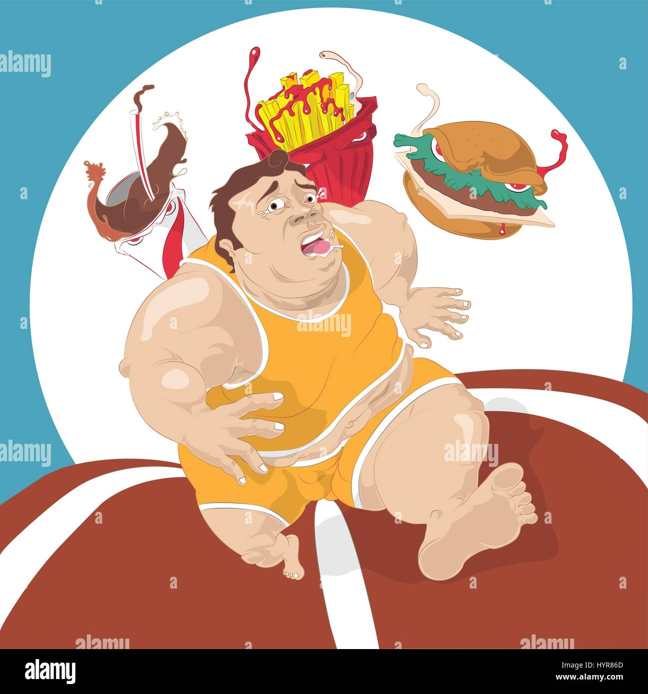 fat man running away from fast food Stock Vector