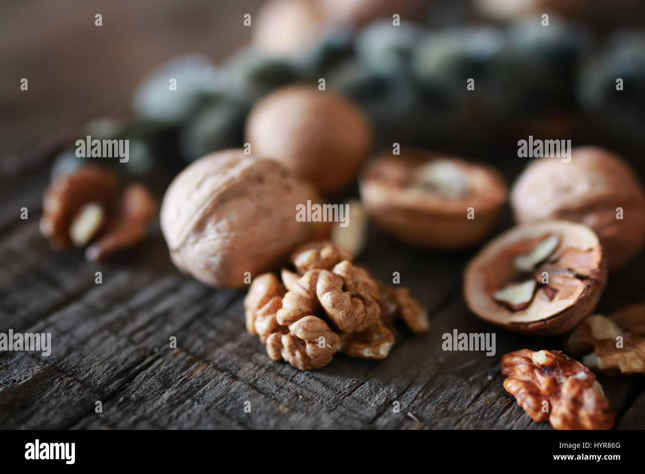 walnuts, whole and peeled Stock Photo