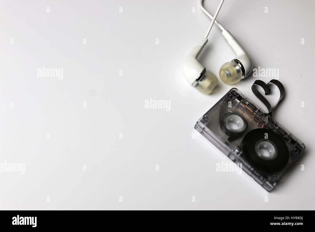 audio cassette tape shape heart - Stock Image