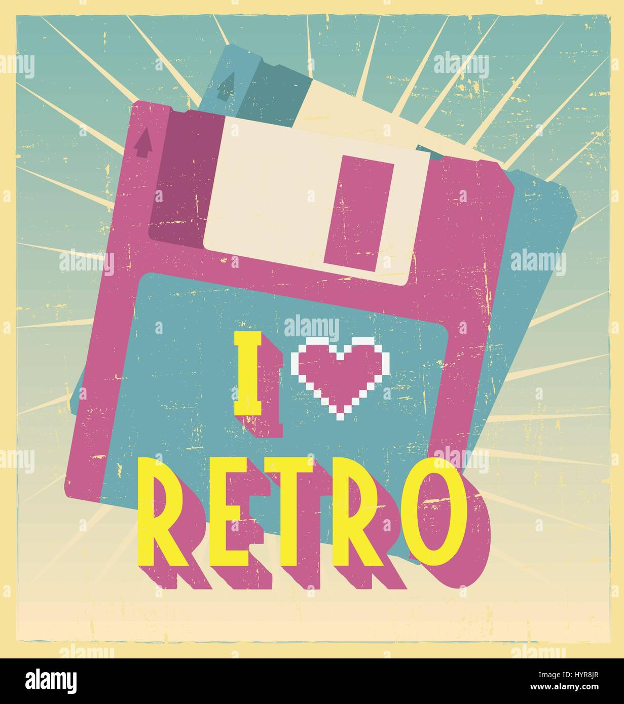 i love retro sign with floppy disc on postcard or poster. retro vintage poster or postcard design with - Stock Vector