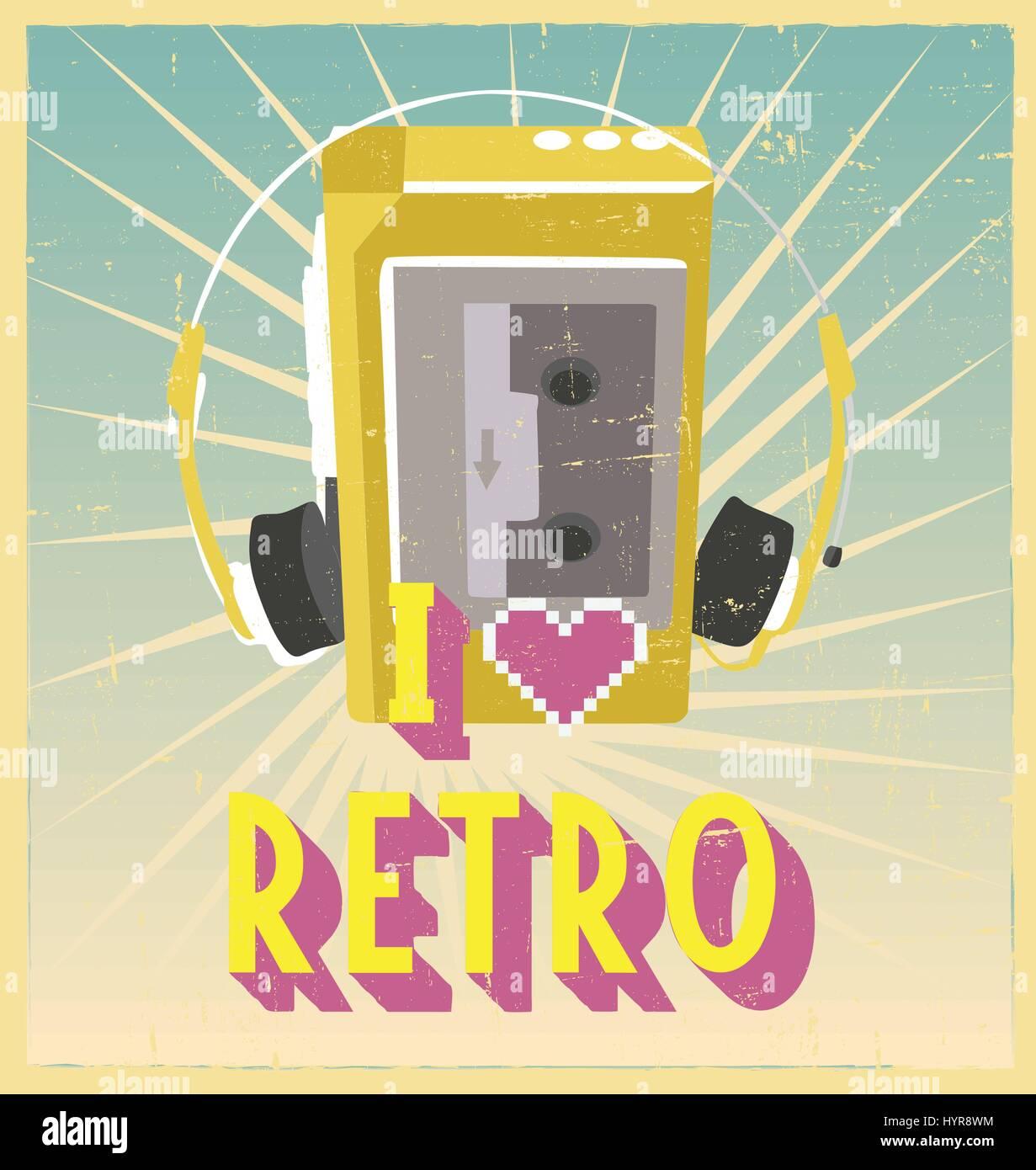 i love retro sign with walkman on postcard or poster. retro vintage poster or postcard design with walkman - Stock Vector