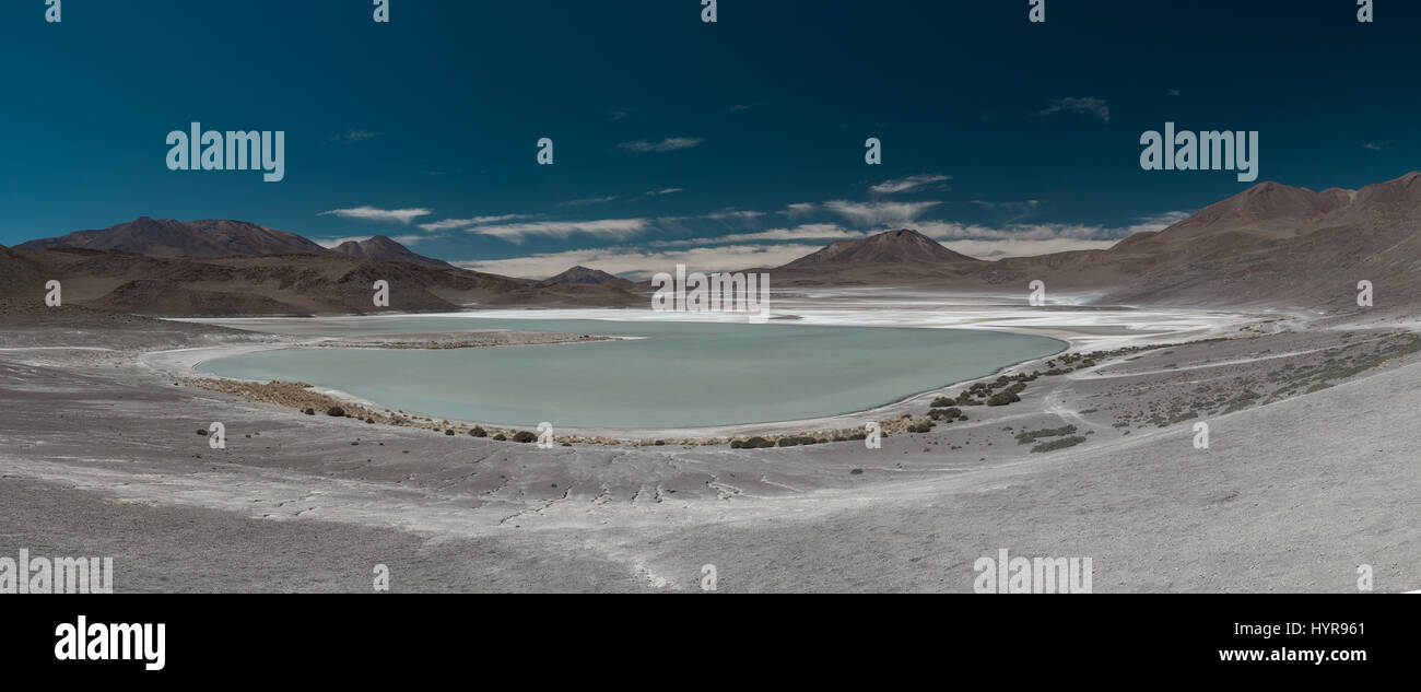 Panoramic view of  Laguna Hedionda, a salt lake in the Potosí Department of southeastern Bolivia. - Stock Image
