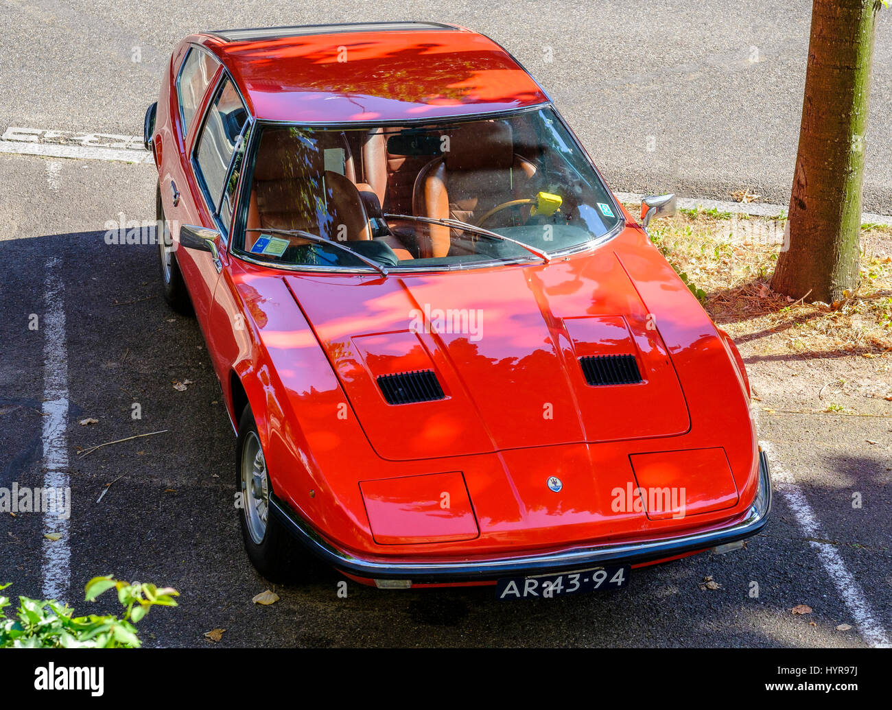 Red Maserati Indy Italian sports car, Tipo AM 116, 2-door, 4-seater, Grand Tourer coupé, designer Giovanni - Stock Image